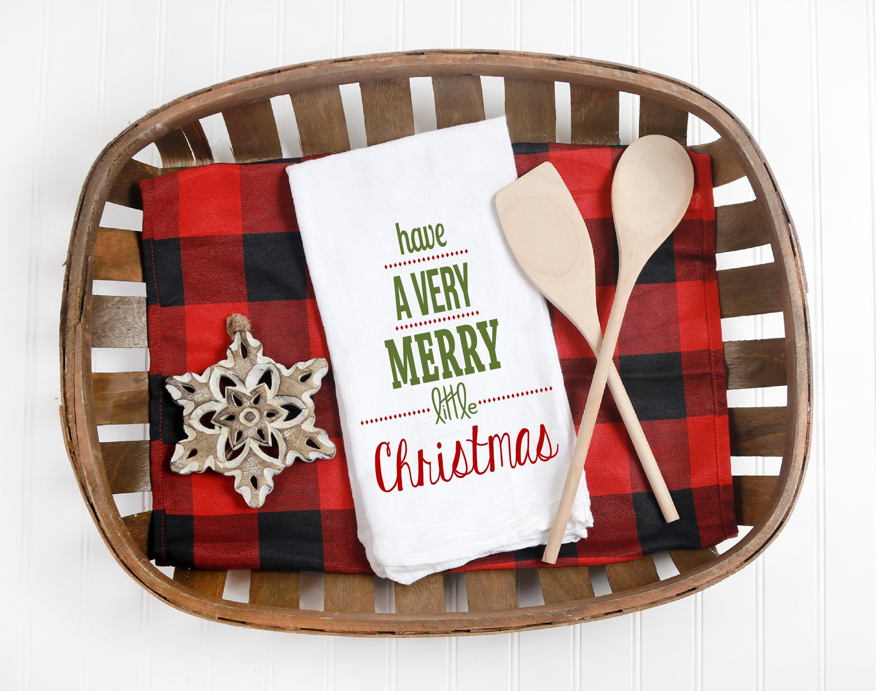 Kitchen towel,tea towel, Christmas kitchen towels, Christmas Decor, Neighbor Christmas Gift,  Decor, merry and bright, merry little