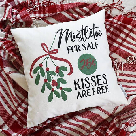 Christmas pillow cover, Christmas decor, Merry Christmas pillow, mistletoe pillow, Vintage christmas, 18x18, Christmas pillow
