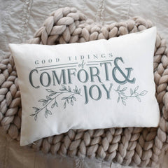 Christmas pillow cover, good tidings, grey and white, farmhouse Christmas, Christmas Pillow