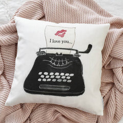 SALE, Valentines Pillow Cover, Valentines Decoration, 18x18 Pillow Cover, i love you, Vintage valentines, typewriter