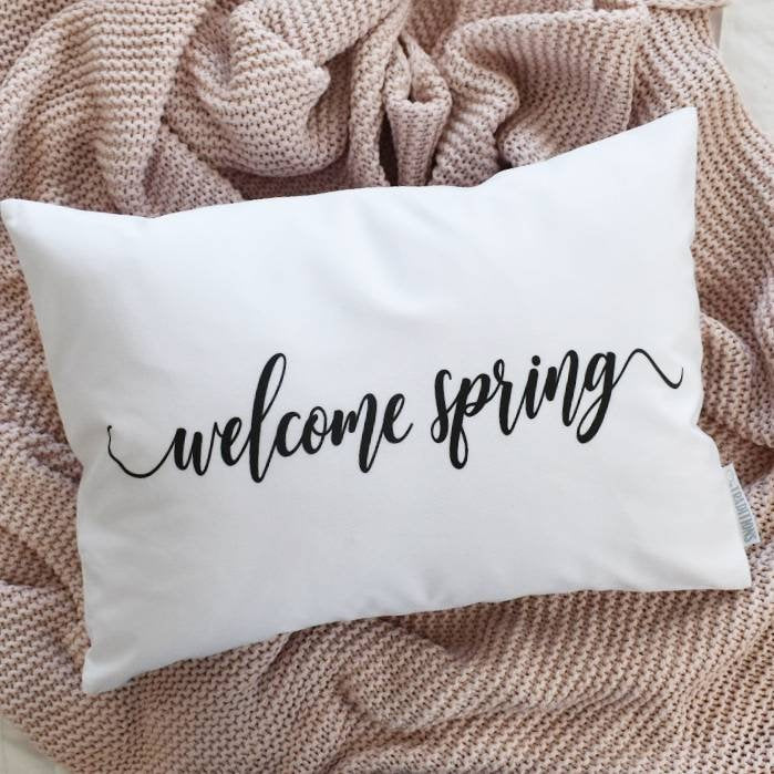Welcome Spring, Farmerhouse Pillow Cover, rustic Pillow Cover, Spring pillow cover,14x20