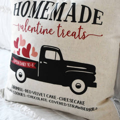 SALE, Valentines Pillow Cover, Valentines Decoration, valentines truck, truck pillow, vintage valentines, valentines treats