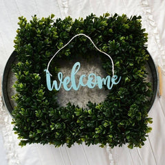 Welcome, wreath decor, wood word cutout, front door decor, inside wreath decor