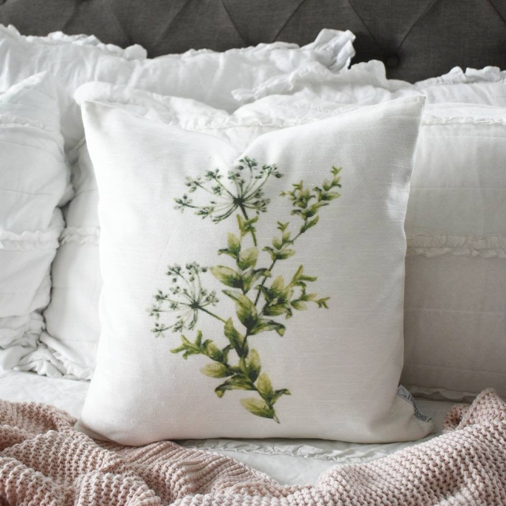 Botanical pillow, Watercolor flower Pillow Cover,  Spring pillow cover, 18x18, Farmhouse pillow cover, botanical flowers