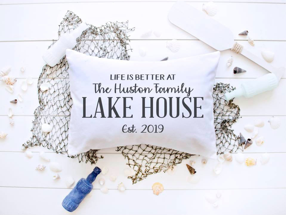 Lake house pillow cover, personalized lake house pillow, lake house decor, lake decor, life is better, life is better at the lake