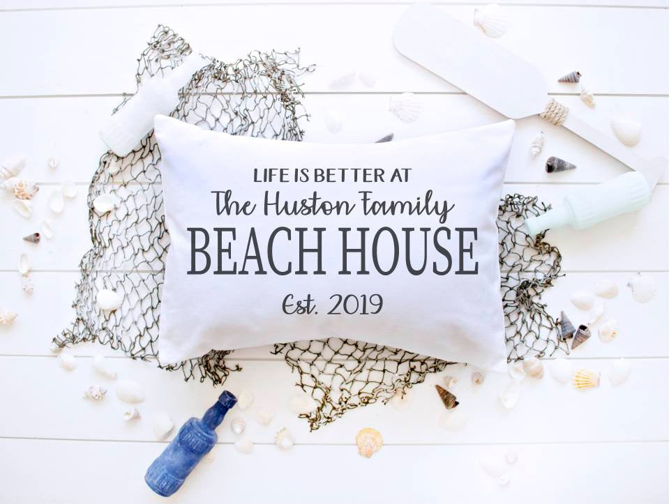 BEACH house pillow cover, personalized beach house pillow, beach house decor, beach decor, life is better, life is better at the beach
