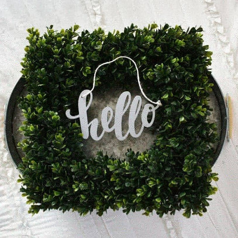 Hello, wreath decor, wood word cutout, front door decor, inside wreath decor