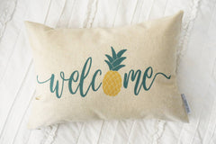 Welcome pillow  cover, pineapple pillow cover, Hello Summer, happy summer, Summer Pillow cover, Summer decor