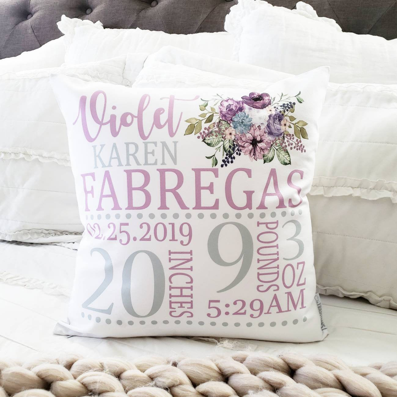 Personalized birth pillow cover, birth Announcement pillow cover, birth pillow cover, baby girl birth pillow, lavender and gray