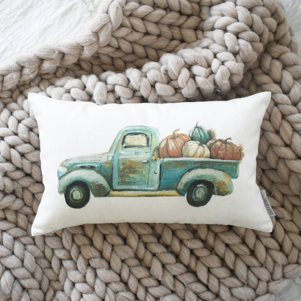 SALE, Fall Truck pillows, truck Pillow Cover, pumpkin Pillow Cover, Autumn pillow cover, Fall Pillow Cover, 18x18