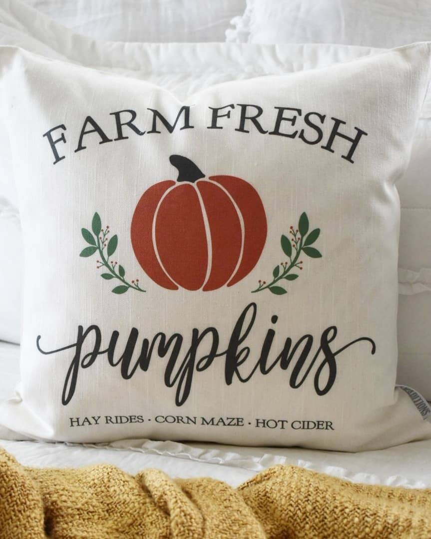 SALE- Fall Pillow Cover, Pumpkin Patch, Fall Decor, Front porch pillow, fall pillow, pumpkin pillow, farm fresh pumpkins