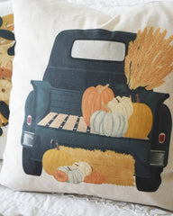 SALE- Fall Pillow Cover, fall truck pillow, Fall Decor, Front porch pillow, fall pillow, pumpkin pillow, farm fresh punpkins