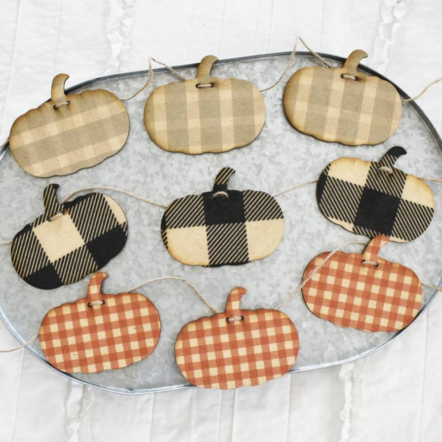 Fall Decor, pumpkin banner, pumpkin Garland,  Fall banner, Fall Garland, Thanksgiving, fireplace Decor, plaid pumpkin