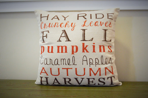 SALE, Fall Pillow Cover, Subway Art, Fall Decor, Fall pillow - Our Traditions Boutique - 2
