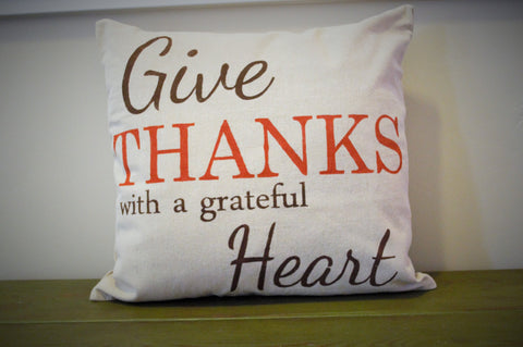 SALE, Fall Pillow Cover, Give Thanks, Fall Decor, Thanksgiving decor - Our Traditions Boutique - 2