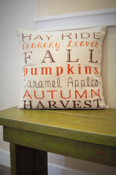 SALE, Fall Pillow Cover, Subway Art, Fall Decor, Fall pillow - Our Traditions Boutique - 1