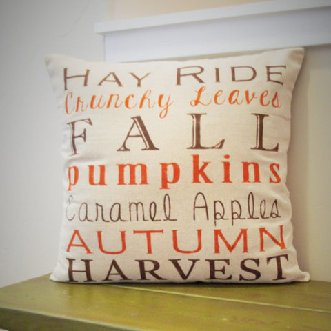 Fall Subway Art Pillow Cover - Our Traditions Boutique - 1