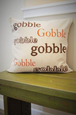 SALE, Fall Pillow Cover, Gobble Gobble, Fall Decor, Thanksgiving, Thanksgiving decor - Our Traditions Boutique - 1