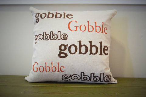 SALE, Fall Pillow Cover, Gobble Gobble, Fall Decor, Thanksgiving, Thanksgiving decor - Our Traditions Boutique - 2