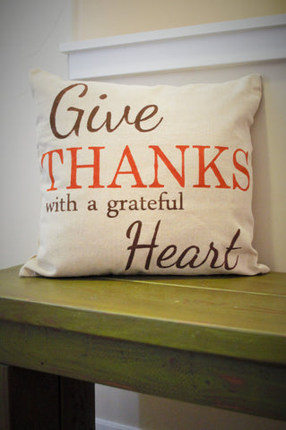 SALE, Fall Pillow Cover, Give Thanks, Fall Decor, Thanksgiving decor - Our Traditions Boutique - 1