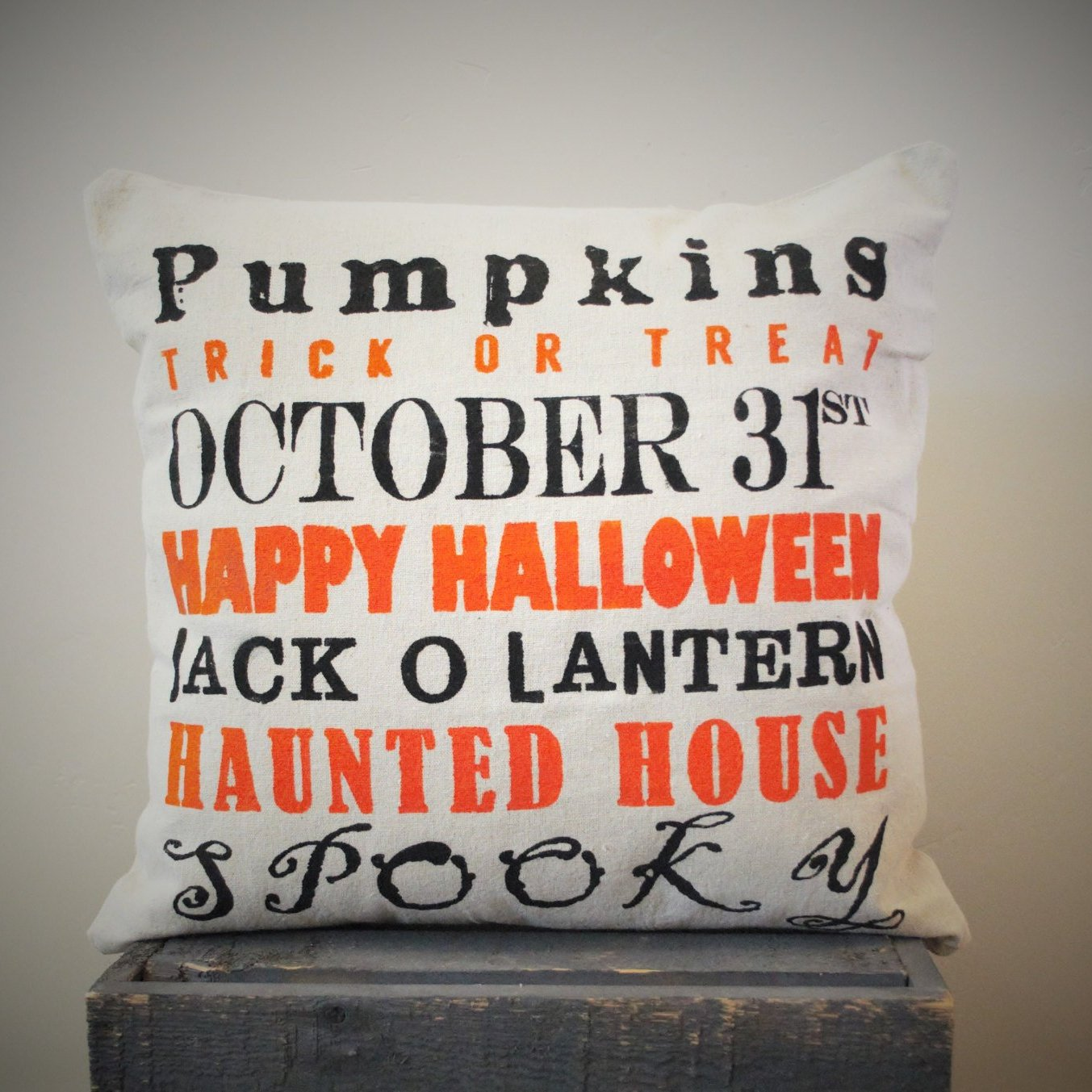 Halloween Pillow, Halloween Subway Art Pillow Cover, You Choose/ Customize Colors, Halloween Decor