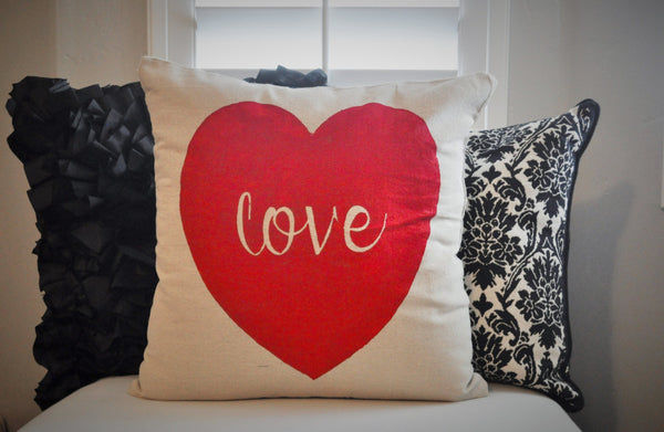 SALE, Valentines Pillow Cover, Valentines Decoration, 18x18 Pillow Cover, blush heart, red heart - Our Traditions Boutique - 1