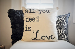 SALE, Valentines Pillow Cover, Valentines Decoration, All you need is love, 18x18 Pillow Cover