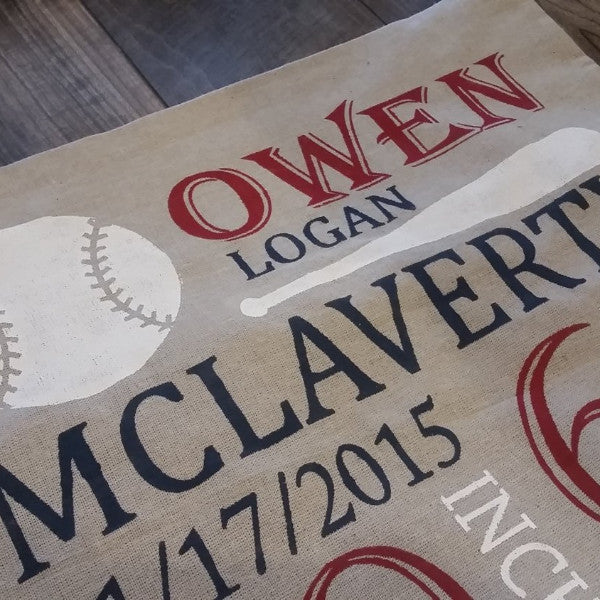 Baseball Themed Personalized birth pillow cover - Our Traditions Boutique - 2