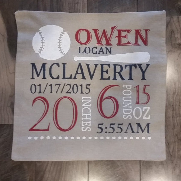 Baseball Themed Personalized birth pillow cover - Our Traditions Boutique - 1