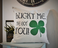 St. Patricks Day Pillow Cover, St. Patricks Pillow, Spring pillow cover, 18x18, Four leaf clover