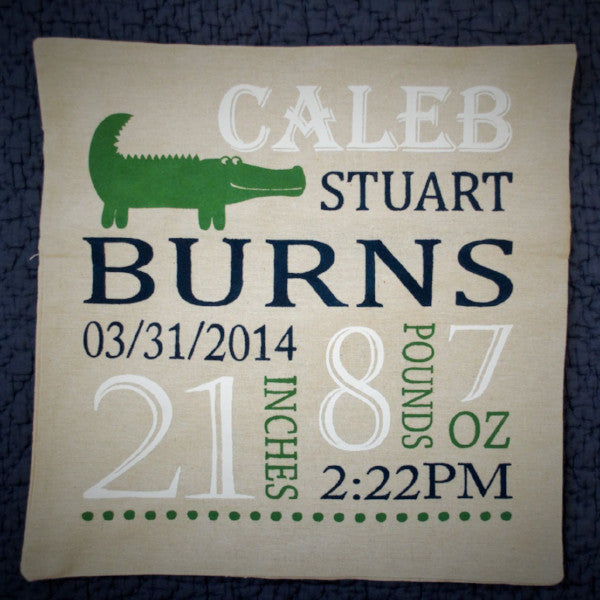 Alligator Themed Personalized birth pillow cover - Our Traditions Boutique - 3