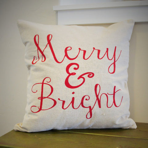 Merry and Bright Christmas pillow cover - Our Traditions Boutique - 1