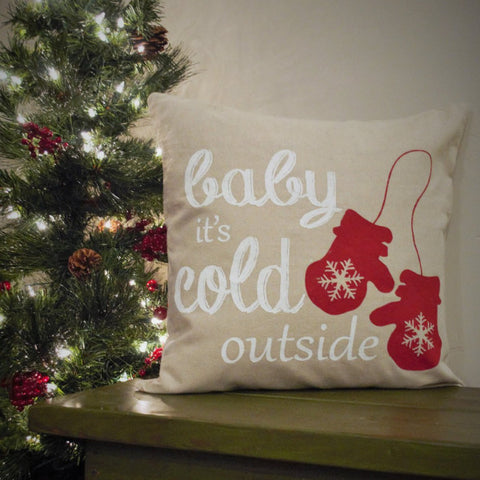 Baby its cold outside Pillow Cover - Christmas decor - Our Traditions Boutique - 1