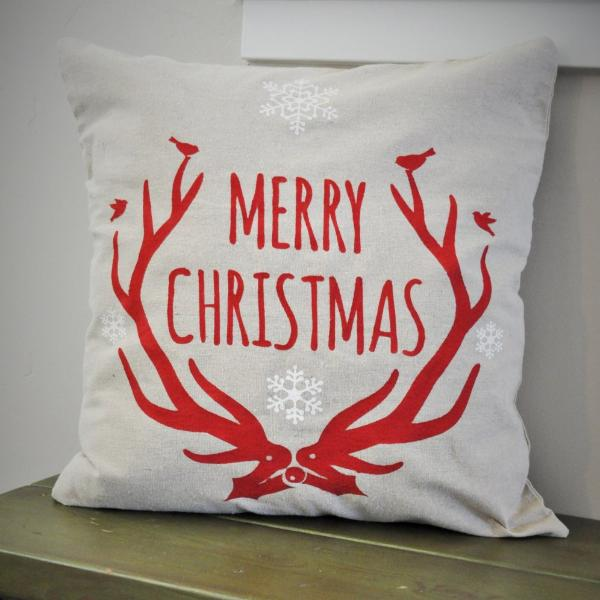 Christmas pillow cover, Merry and Bright, Christmas decor, Deer Antlers, Deer Christmas Pillow, Vintage christmas - Our Traditions Boutique - 3