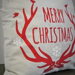 Christmas pillow cover, Merry and Bright, Christmas decor, Deer Antlers, Deer Christmas Pillow, Vintage christmas - Our Traditions Boutique - 2