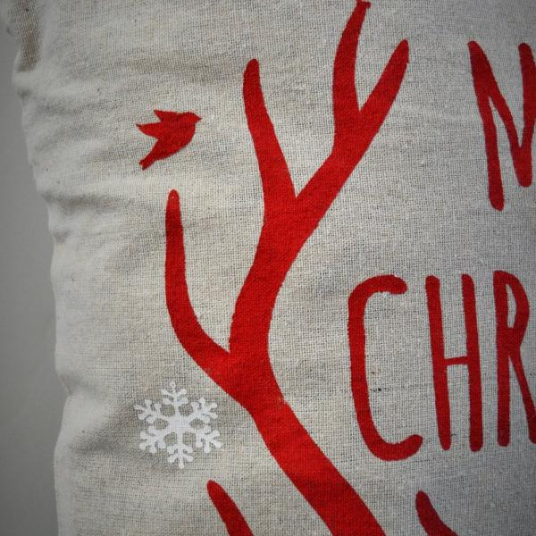 Christmas pillow cover, Merry and Bright, Christmas decor, Deer Antlers, Deer Christmas Pillow, Vintage christmas - Our Traditions Boutique - 4