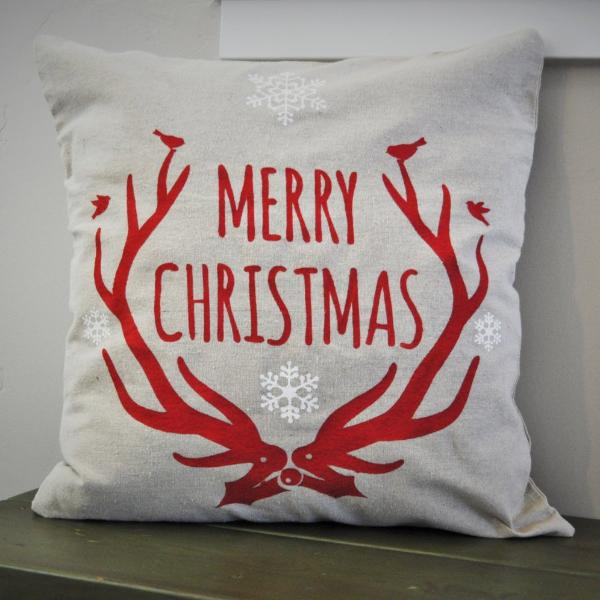 Christmas pillow cover, Merry and Bright, Christmas decor, Deer Antlers, Deer Christmas Pillow, Vintage christmas - Our Traditions Boutique - 1