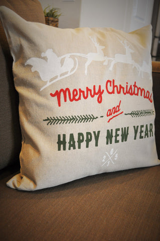 Merry Christmas &Happy New Year, Santa's Sleigh Christmas pillow cover - Our Traditions Boutique - 2