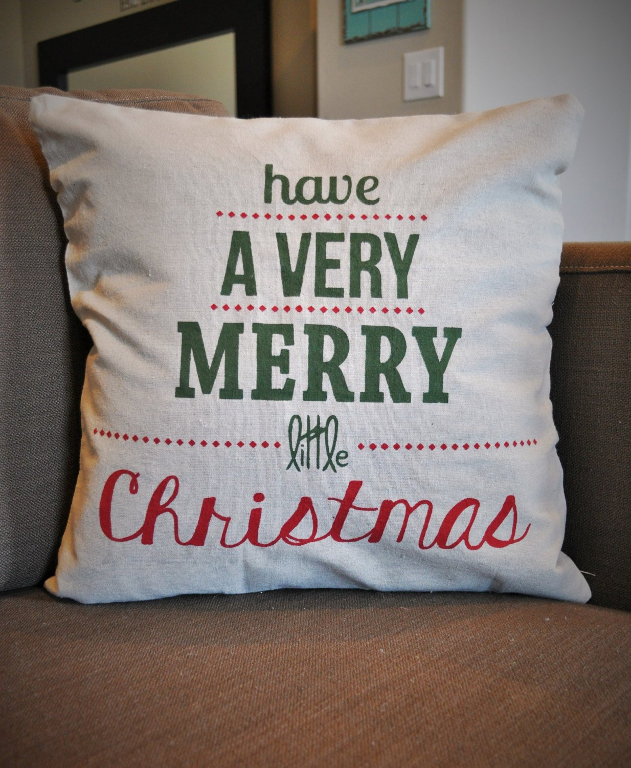 Sale- CHRISTMAS IN JULY, pillow cover, Christmas decor, Merry Little Christmas, Merry Christmas pillow,