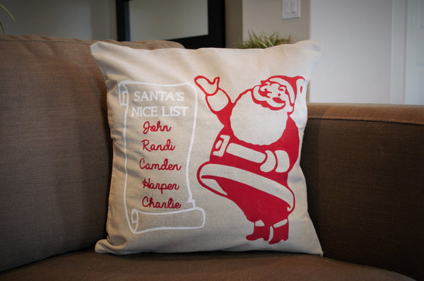 Santa's Nice List - Christmas pillow cover - Personalized - Our Traditions Boutique - 1