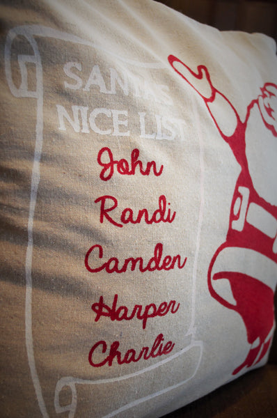 Santa's Nice List - Christmas pillow cover - Personalized - Our Traditions Boutique - 4