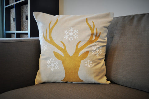 Deer Head Silhouette with snowflakes Christmas pillow cover - Our Traditions Boutique - 1
