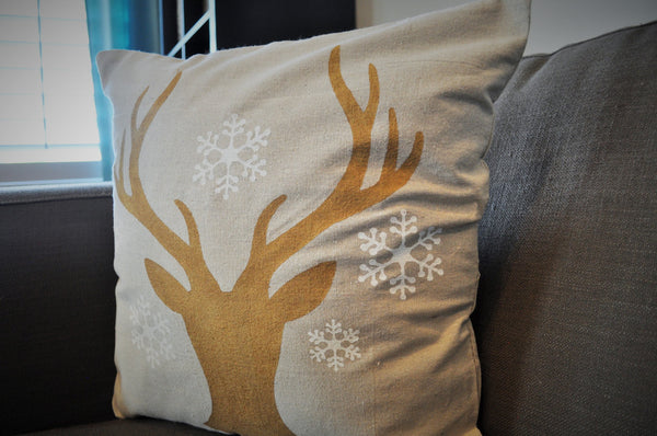 Deer Head Silhouette with snowflakes Christmas pillow cover - Our Traditions Boutique - 5