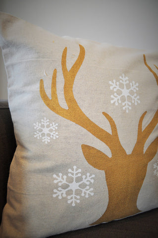 Deer Head Silhouette with snowflakes Christmas pillow cover - Our Traditions Boutique - 2