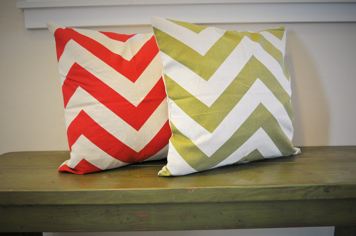 Red chevron pillow, green chevron pillow, 18x18, Christmas, Accent Pillow cover - Our Traditions Boutique - 1