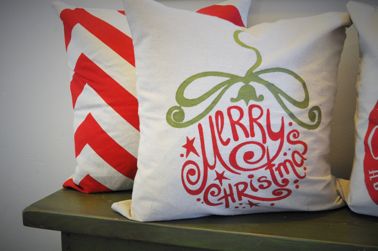 Red chevron pillow, green chevron pillow, 18x18, Christmas, Accent Pillow cover - Our Traditions Boutique - 3