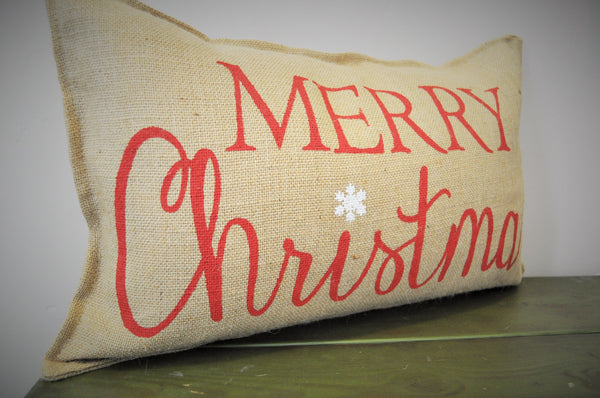 Merry Christmas Burlap Rectangle Pillow 14x22 - Our Traditions Boutique - 2