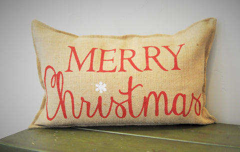 Merry Christmas Burlap Rectangle Pillow 14x22 - Our Traditions Boutique - 1