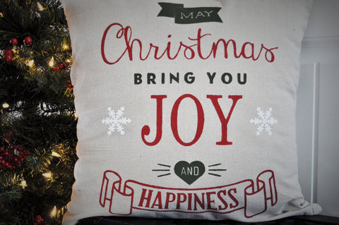 May Christmas Bring you Joy and Happiness - Christmas pillow cover - Our Traditions Boutique - 2