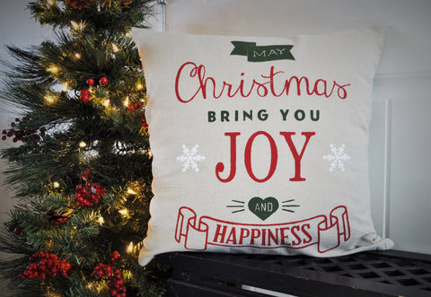 May Christmas Bring you Joy and Happiness - Christmas pillow cover - Our Traditions Boutique - 1
